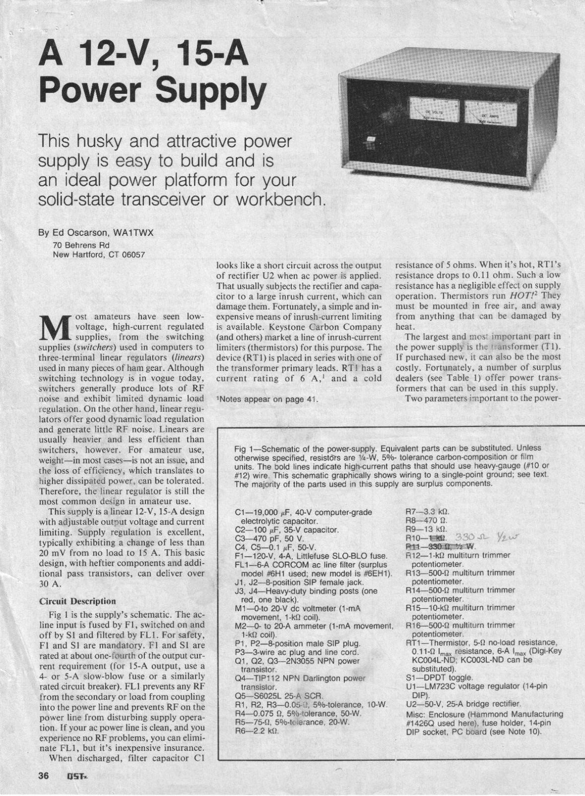 Amp Desk Top Power Supply Article